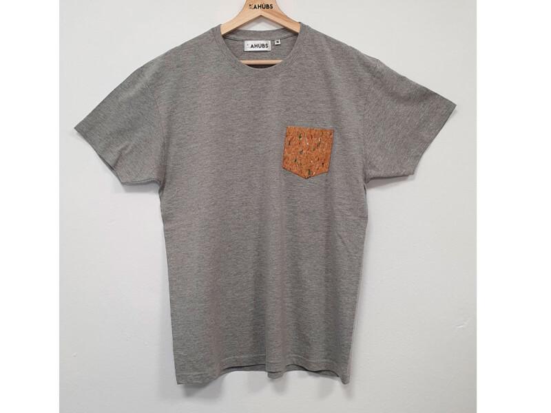 Camiseta Gris Unisex Con Bolsillo