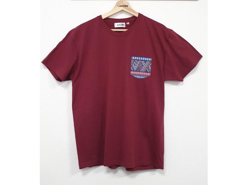 Camiseta Granate Bolsillo